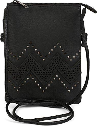 styleBREAKER Mini Bag Umhängetasche mit Zick-Zack Cutout und Nieten, Schultertasche, Handtasche, Tasche, Damen 02012211, Farbe:Schwarz -