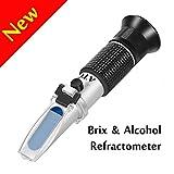 Wein Refraktometer,W-Unique Hand Refraktometer mit Doppelte Skala( Brix: 0-40%, Alkohol: 0-25) für Heimbrauen & Weinbereitung Wein Zucker Inhalt Testen