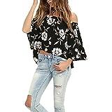 Vest Tops Women, LMMVP Off Shoulder Floral Printed Sleeveless Blouse Casual Tank Tops T-Shirt (XL, Black)