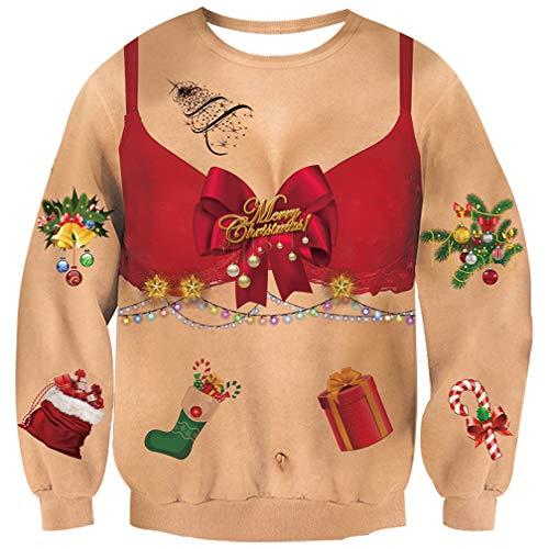 Goodstoworld Pullover Natale 3D Maglione Natalizio Uomo Donna Felpa Senza Cappuccio novità Funny 3D Xmas Elf Animali Camicia T-Shirt