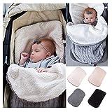 Quner Baby Gestrickt Wickeln Swaddle Kuscheldecke Schlafsack weiche warme Fleece gefüttert für 0-12 Monat Baby (Dunkelgrau)