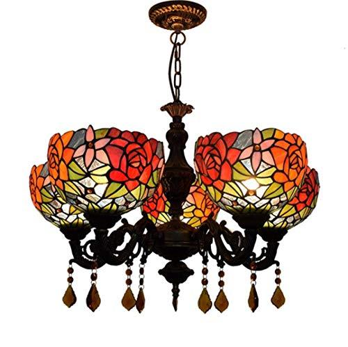 5 Light 25 Kronleuchter (WFTD Tiffany Style Rose Kronleuchter, 25-Zoll-Glasmalerei Deckenleuchte 5-Light American Style Vintage Restaurant Pendent Light)