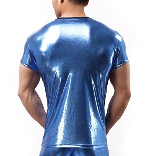 YiZYiF Männer Muskel Shirt Wetlook Herren Reizwäsche Langarm / Kurzarm T-Shirt Tights Unterhemd Fitness Slim Blau Kurzarm