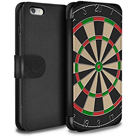 Stuff4 PU Cuero Funda/Carcasa/Folio/Cover en Para el Apple iPhone 6 / serie: Juegos - Dardos