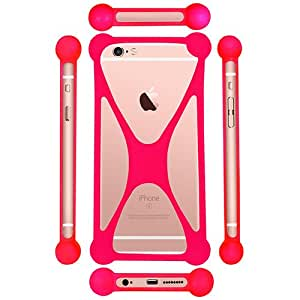 Casotec Universal Silicone Bumper Frame Soft Gel Phone Case Cover for Gionee Marathon M5 lite - Pink