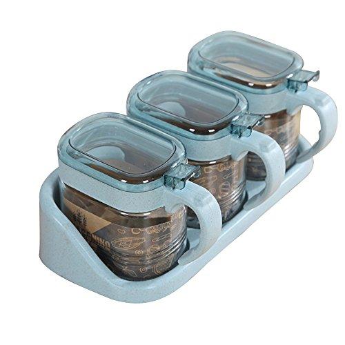 JD Regal Weizen Glas Rosa/Blau/Grün/Lila 3pcs kleine frische Küche Storage Condiment Box Set Größe: 23 * 11 cm Haltbar (Farbe : Blue)