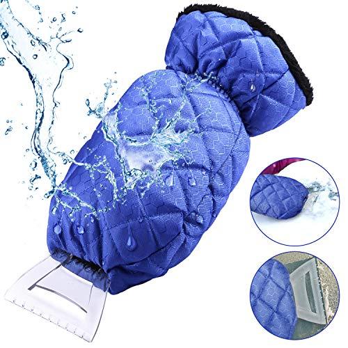 Gifort Eiskratzer mit Handschuh, Auto Winter Eiskratzer Kratzer Eiskratzer Handschuh Für Auto Windschutzscheibe Und Fenster Schneeschaufel Eisschaber (blau) -