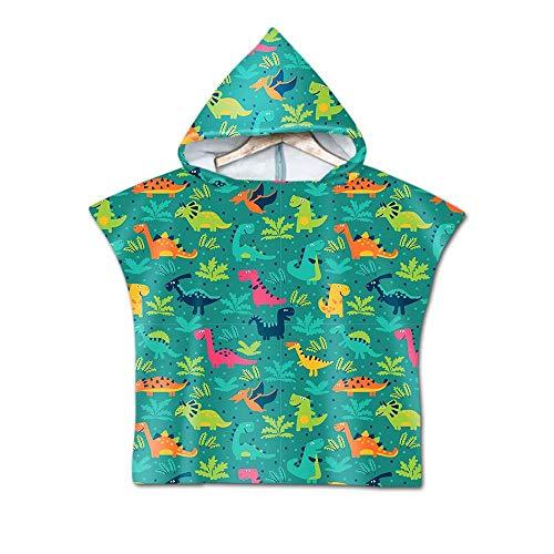 Stillshine Infantiles Natación Playa Microfibra Poncho Toalla Albornoz,Toalla de Baño Dibujos Animados Animal Dinosaurio Playa de Toalla para Niño Niña 3-7 años (Dinosaurio Verde)