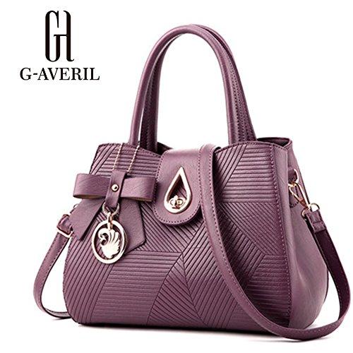 (G-AVERIL) Borsa Messenger Donna Elegante Cerniera Design Tote viola