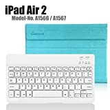 Apple iPad Air 2 Deutsche Bluetooth Tastatur,CoastaCloud Ultra-Thin QWERTZ Deutsche Bluetooth Tastatur Keyboard Case für Apple ipad Air 2 (A1566 A1567 )Azurblau