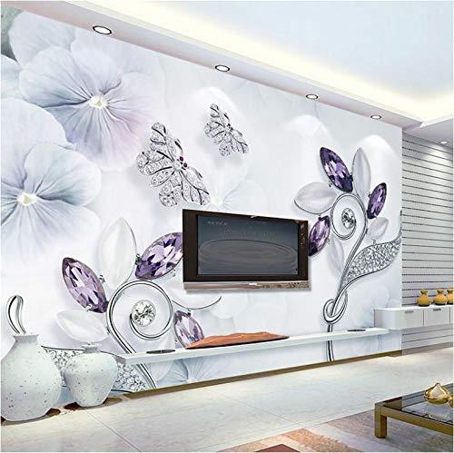 Benutzerdefinierte jeder Größe 3D Wallpaper 3D Lila Kristall Blume Schmetterling Diamant Schmuck europäischen Stil Wohnzimmer TV Hintergrund Wandbild Papier