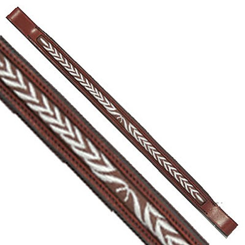 Horse Chestnut Leaf (Exselle Fancy genäht Laurel Leaf Brow Band, AEBB1827, Chestnut Leather/White Stitching)