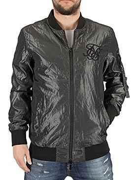 Sik Silk Hombre Elevar Logotipo de la chaqueta de bombardero, Gris