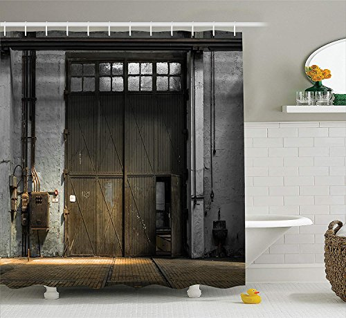 Industrial Decor Shower Curtain Set, Enter of an Old Factory Building from 50s with Broken Rusty Door Empty Storage Photo, Bathroom Accessories, 60W X 72L Inches Long, Grey Brown - 5' Storage Building