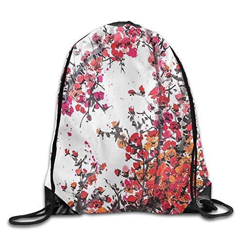 Zipp Brush (Etryrt Turnbeutel/Sportbeutel, Drawstring Backpack Unisex Gym Bag Japanese Cherry Blossoms in Watercolor Brush Style Vibrant Drawstring Gym Sack Sport Bag for Men and Women)
