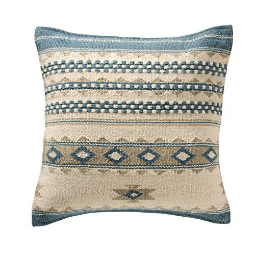 Fair-Trade Kovalam Kelim-Kissenbezüge, handgefertigt auf Handwebstühlen aus 80/20 - Wolle/Baumwolle und natürlichen Farben, baumwolle Wolle, blau, 45 x 45 cm -