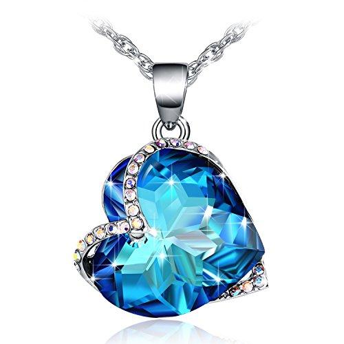 Kette Damen, Fairy Season Ozean Segen Halskette Anhänger mit Blau Herz Kristall von Swarovski Geschenk für Frauen Geschenkbox Paket Nickelfrei getestet von SGS
