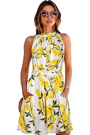 SHIVALIKA TEX Women's Skater Knee-Long Dress (PU-Cruze_Lemon_Yellow_XL_Yellow_X-Large)