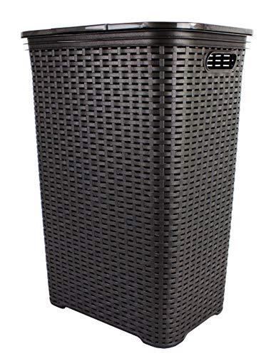 Wäschebox in Flechtoptik Wäschekorb Wäschetonne Wäschetruhe Wäschesammler mit Deckel aus Plastik anthrazit grau 65 Liter