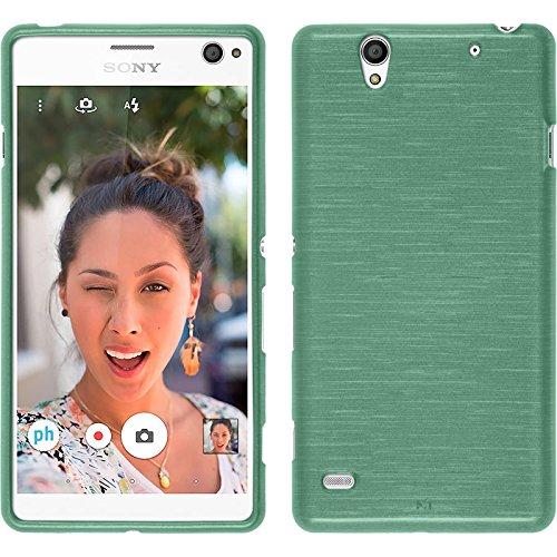 PhoneNatic Case kompatibel mit Sony Xperia C4 / Dual - grün Silikon Hülle Brushed + 2 Schutzfolien