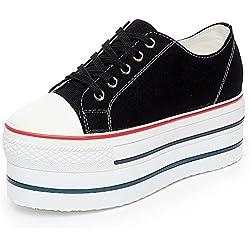 Rismart Damen Keilabsatz Canvas Espadrilles Fashion Sneakers Schuhe SN627(schwarz,EU37.5)