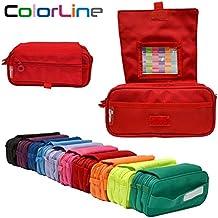 Colorline 58311 - Portatodo Triple de Amplios Apartados Interiores con Cierre de Cremallera Individual, Estuche Multiuso para Material Escolar. Color Rojo, Medidas 22 x 11 x 9 cm