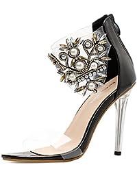 ZWME Mujeres Rhinestones Sandalias De La Correa Del Tobillo Del Estilete Del Alto Talón De Las Señoras Peep Open Toe Party Zapatos De Noche