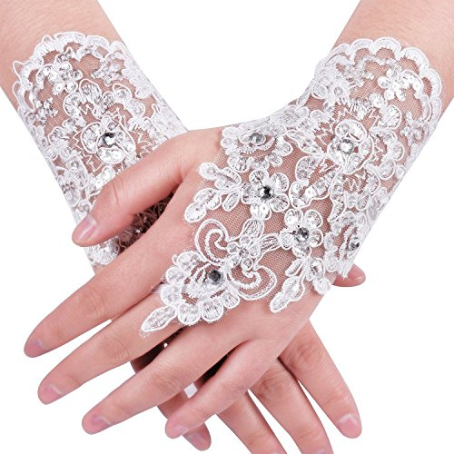 Babyonlinedress® Paar Handschuhe Fingerlose Braut Spitze Ivory