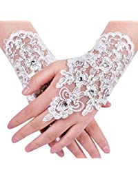 Rhinestone Lace Floral Fingerless Short Wedding Gloves for Bride Bridesmaid