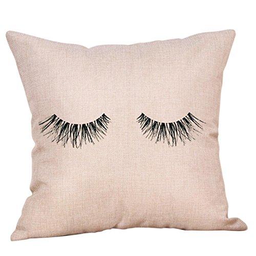 ug Hevoiok Kreative Wimpern Muster Kissenüberzug Sofakissen Abdeckungs Bett Frühling Kissenhülle 45 x 45 cm (A) (40 Wimpern)