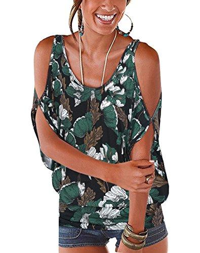 rzarm Schulterfrei Oberteil Damen Off Shoulder Top Sommer Carmen Shirt Blumenmuster Blumenmuster-Dunkelblau-05 EU44 ()