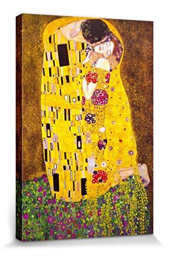 1art1 60711 Gustav Klimt - Der Kuss, 1908 Poster Leinwandbild Auf Keilrahmen 120 x 80 cm