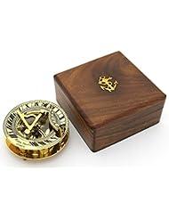 laiton massif Cadran solaire et boussole en bois dur Box–Laiton poli Cadran solaire Boussole