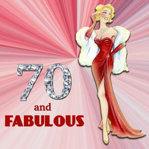 70 and Fabulous: Retro Blonde Bombshell Design 70th Birthday Guest Book for Women - Red & Diamond Sign In Book - Vintage Style Fiftieth Bday Party ... Name and Address - Square Size  8.25 x 8.25