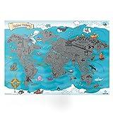 Qapter Kinder Rubbelweltkarte Poster aus Pappe, mehrfarbig, 59,5 x 42 x 0,1 cm groß, Weltkarte zum Rubbeln, schöne Erinnerung an bisherige Reisen