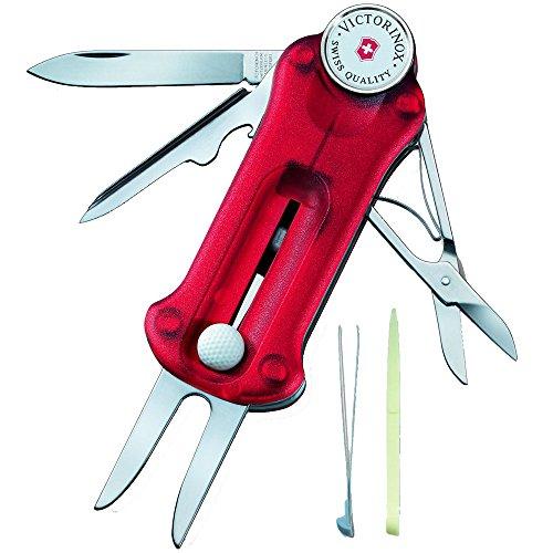 Victorinox Taschenmesser Golf Tool (10 Funktionen, Ballmarkierer, Reparatur) rot transparent