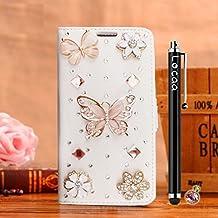 Locaa(TM) For Alcatel OneTouch Pop 3 Pop3 5.5 inch 3D Bling Case Funda Accesorios Funda Bumper Shell Caso Phone Cover Cas Alta Calidad Piel Cuero Para Protector Dura [2] Blanca - Mariposa oro