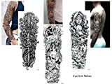 3 Sheet VOLLEN ARM TATTOO SCHWARZ FAKE TATTOO Totenkopf Schwert Messer Länge 45cm
