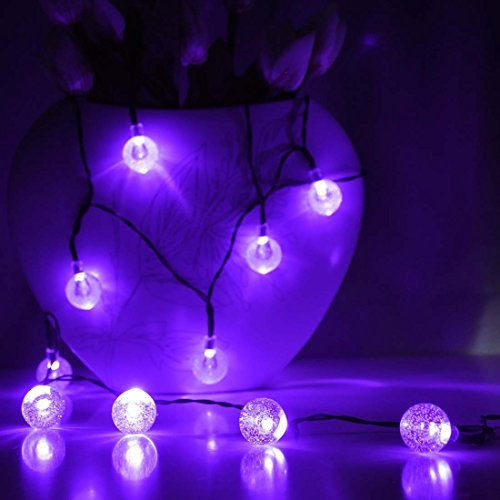 Image of Solar String Fairy Lights 60 LED Crystal Ball, Satu Brown 36ft 11M Patio Globe Lights Outdoor Lighting for Valentines Decorations Festive Christmas Party , Garden, Camping, Yard Deck(Purple)