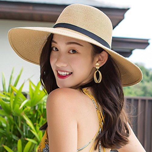 70984ce3b5b9d WQLQL Sombrero de paja de sol de moda Verano Femenino Versión Coreana  Sombrero de Paja Playa Turismo Vacaciones Protector Solar