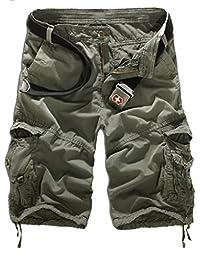Elonglin Homme Eté Cargo Shorts de Loisir Capri Mi-longues pantalon court (SANS CEINTURE)
