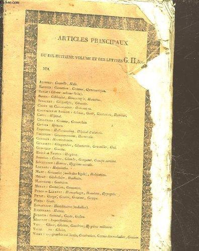 DICTIONNAIRE DES SCIENCES MEDICALES - TOME 18- DE - GENERATION - A - GOMPHOSE
