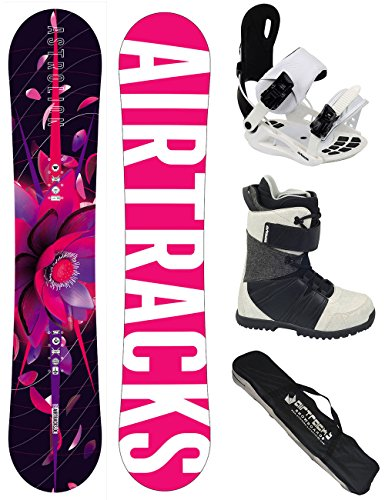 AIRTRACKS DAMEN SNOWBOARD KOMPLETT SET / ZEBRA LADY SNOWBOARD + BINDUNG SAVAGE W + BOOTS + SB BAG / 150 155 / cm