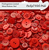 100g **RED** SEWING BUTTONS / ASSORTED SIZES / ARTS CRAFTS / SCRAPBOOK / CARD MAKING