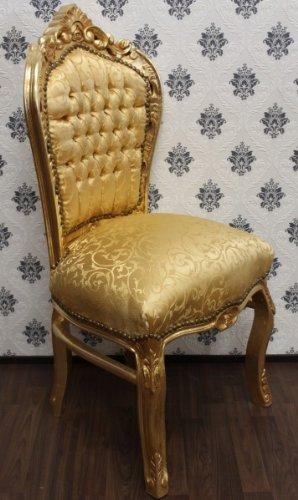 Casa Padrino Barock Esszimmer Stuhl Gold Muster/Gold - Barock Möbel Antik Stil