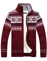 0d8dd45e7e71 GWELL Herren Strickjacke mit Fleece Jacquard Verdickte Sweater Cardigan  Strickpullover mit Reißverschluss Stehkragen