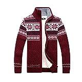 GWELL Herren Strickjacke mit Fleece Jacquard Verdickte Sweater Cardigan Strickpullover mit Reißverschluss Stehkragen Rot S