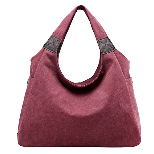 PB-SOAR Damen Canvas Schultertasche Henkeltasche Shopper Handtasche Hobo Bag Beuteltasche Schulterbeutel, 6 Farben auswählbar (Grau) Fuchsia