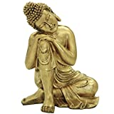 27 cm (H) Napping Oro Indiano Statua di Buddha in Resina Home Decor Housewarming Gift BS107