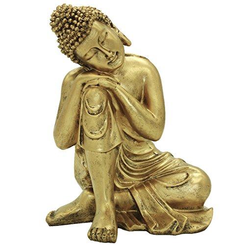 27 cm (H) indien Statue de Bouddha Résine Doré Maison Decor Cadeau BS107